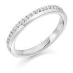 Platinum Brilliant Cut Diamond Offset Wedding Ring 0.22ct