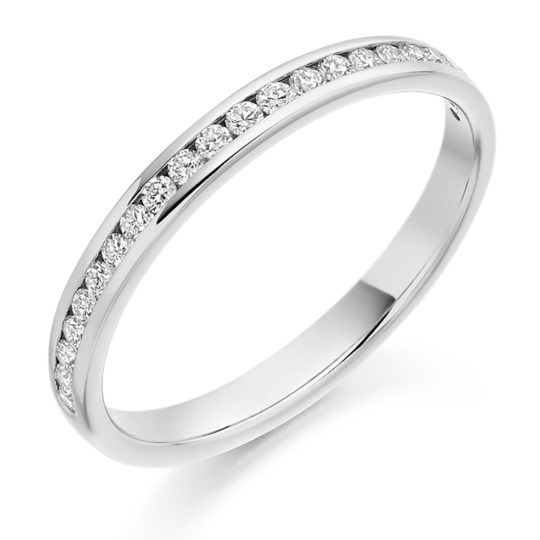 Platinum Brilliant Cut Diamond Channel Set Half Eternity Ring 0.25ct