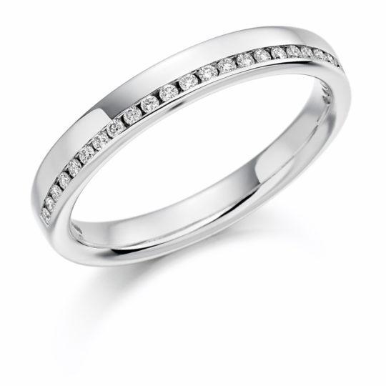 Platinum Brilliant Cut Diamond Offset Wedding Ring 0.12ct