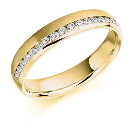 18ct Yellow Gold Brilliant Cut Diamond Offset Wedding Ring 0.26ct