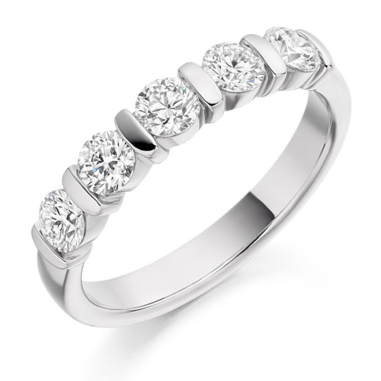 18ct White Gold Brilliant Cut Diamond Five Stone Eternity Ring 0.75ct