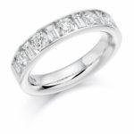 18ct White Gold Brilliant Cut & Baguette Cut Diamond Channel Set Half Eternity Ring 1.50ct