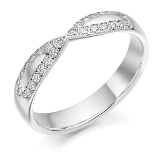 Platinum Brilliant Cut Diamond Set Shaped Wedding Ring 0.25ct