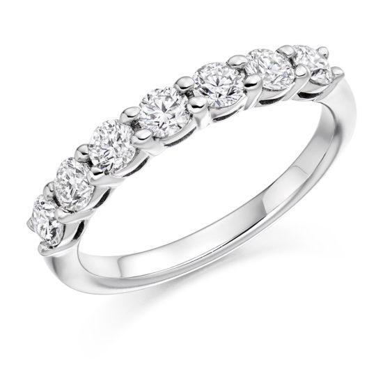 18ct White Gold Brilliant Cut Diamond Seven Stone Eternity Ring 0.75ct