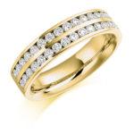 18ct Yellow Gold Brilliant Cut Diamond Channel Set Two Row Half Eternity Ring 0.75ct