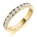 18ct Yellow Gold Brilliant Cut Diamond Channel Set Half Eternity Ring 0.75ct