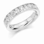Platinum Brilliant Cut & Baguette Cut Diamond Channel Set Half Eternity Ring 1.50ct