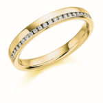 18ct Yellow Gold Brilliant Cut Diamond Offset Wedding Ring 0.12ct