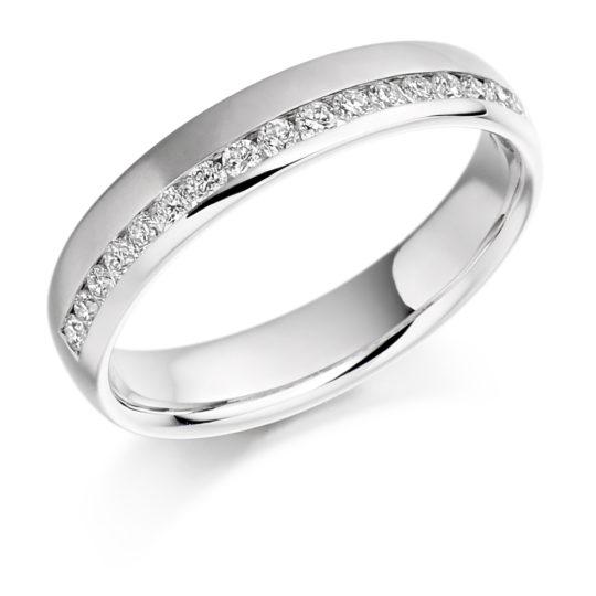 18ct White Gold Brilliant Cut Diamond Offset Wedding Ring 0.26ct