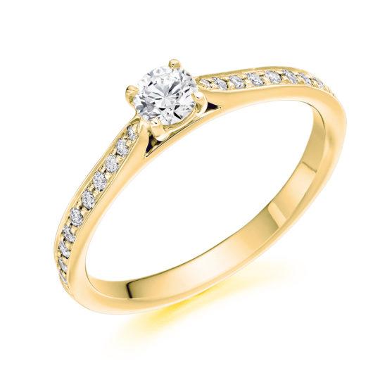 18ct Yellow Gold Brilliant Cut Diamond Engagement Ring 0.40ct
