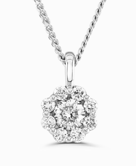 9ct White Gold BELLA Diamond Pendant & Chain 0.20ct