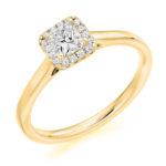 Platinum Princess Cut Diamond Halo Engagement Ring 0.40ct
