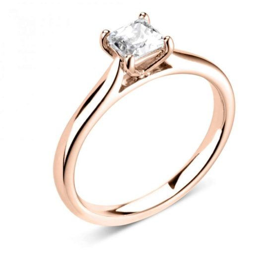 18ct Rose Gold Princess Cut Diamond Solitaire Engagement Ring 0.40ct