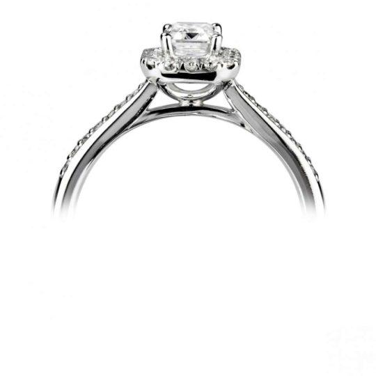 Platinum Emerald Cut Diamond Halo Engagement Ring 1.28ct