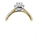 18ct Yellow Gold Emerald Cut Diamond Halo Engagement Ring 1.28ct