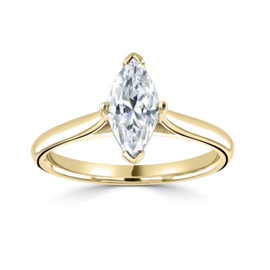 18ct Yellow Gold Marquise Cut Diamond Engagement Ring 1.00ct