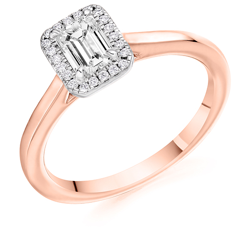 Platinum Emerald Cut Diamond Halo Engagement Ring 0.60ct