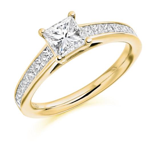 18ct Yellow Gold Princess Cut Diamond Engagement Ring 1.40ct