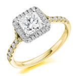 18ct Yellow Gold Princess Cut Diamond Halo Engagement Ring 1.25ct