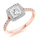 18ct Rose Gold Princess Cut Diamond Halo Engagement Ring 1.25ct