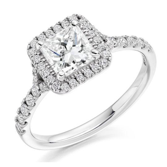 Platinum Princess Cut Diamond Halo Engagement Ring 1.25ct