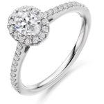 Platinum Oval Cut Diamond Halo Engagement Ring 0.75ct