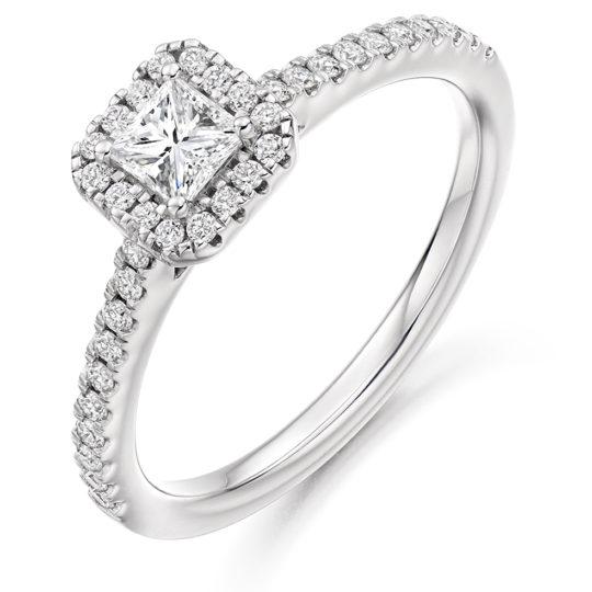 Platinum Princess Cut Diamond Halo Engagement Ring 0.63ct