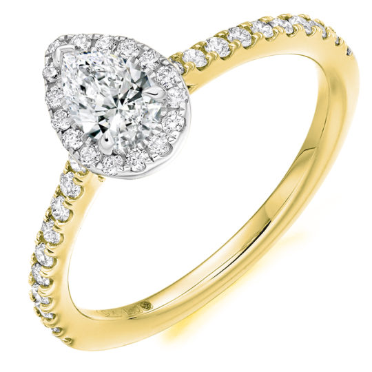 Platinum Pear Shape Diamond Halo Engagement Ring 0.68ct