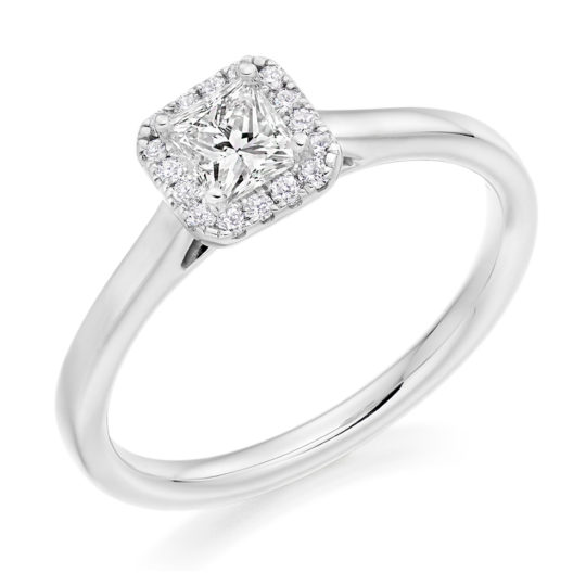 Platinum Princess Cut Diamond Halo Engagement Ring 0.43ct