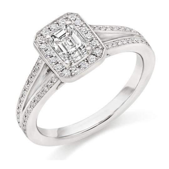 Platinum Emerald Cut Diamond Engagement Ring 0.80ct