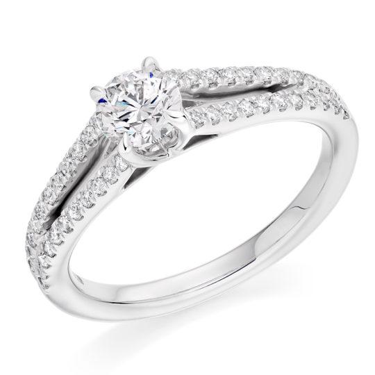 Platinum Brilliant Cut Diamond Engagement Ring 0.80ct