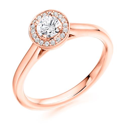 Platinum Brilliant Cut Diamond Halo Engagement Ring 0.41ct