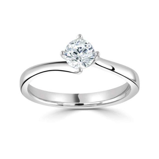 Platinum Brilliant Cut Diamond Solitaire Engagement Ring 0.50ct