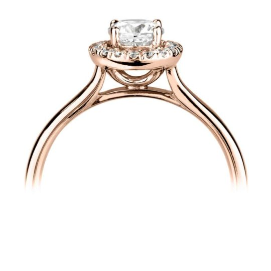 18ct Rose Gold Brilliant Cut Diamond Halo Engagement Ring 0.63ct