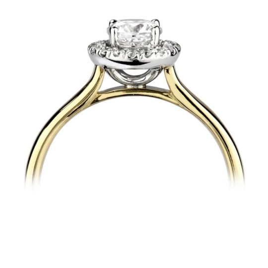 18ct Yellow Gold Brilliant Cut Diamond Halo Engagement Ring 0.63ct