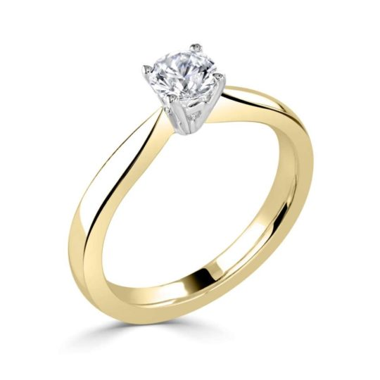 18ct Yellow Gold Brilliant Cut Diamond Solitaire Engagement Ring 0.50ct
