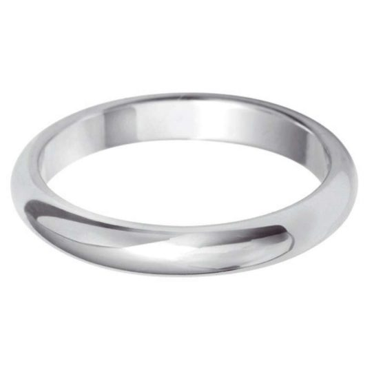 Ladies 9ct White Gold 2.5mm D-Shape Wedding Ring