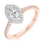 18ct Rose Gold Marquise Cut Diamond Halo Engagement Ring 1.15ct