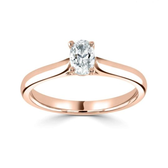 18ct Rose Gold Oval Cut Diamond Solitaire Engagement Ring 0.30ct