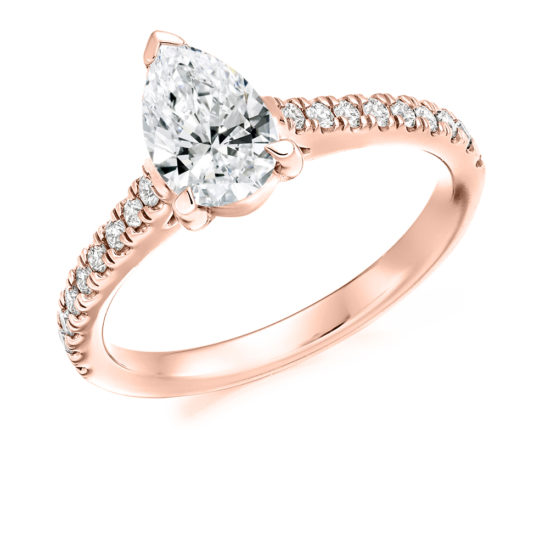 18ct Rose Gold Pear Shape Diamond Engagement Ring 1.00ct