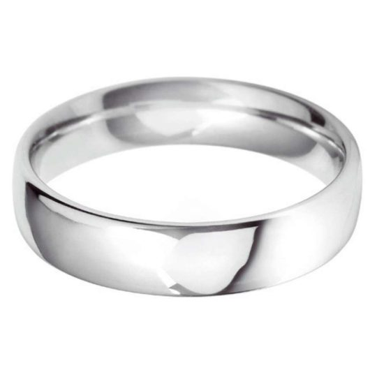 Gents 18ct White Gold 5mm Court Wedding Ring