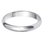 Ladies 9ct White Gold 3mm D-Shape Wedding Ring