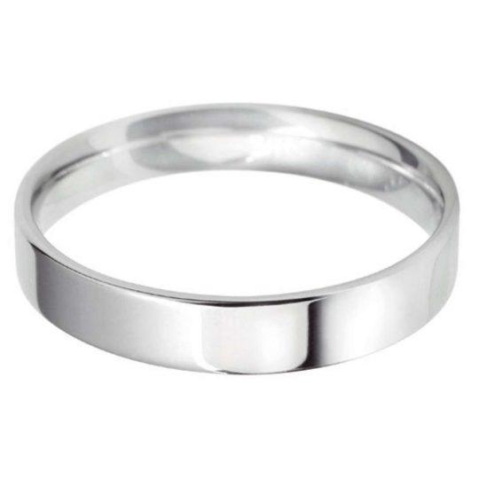 Gents Platinum 4mm Light Flat Court Wedding Ring