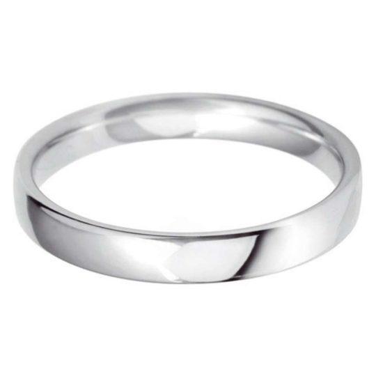 Ladies Platinum 3mm Light Court Wedding Ring