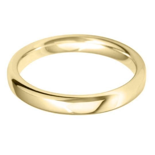 Ladies 9ct Yellow Gold 3mm Court Wedding Ring