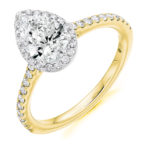 18ct Yellow Gold Pear Shape Diamond Halo Engagement Ring 1.10ct