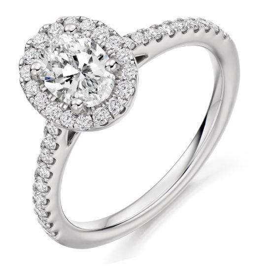 Platinum Oval Cut Diamond Halo Engagement Ring 1.15ct