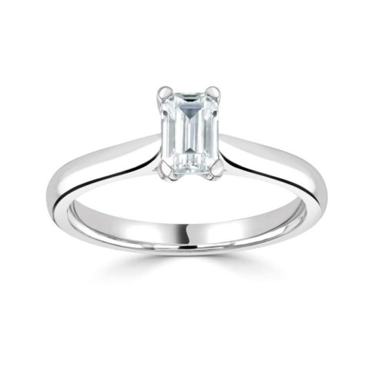 18ct White Gold Emerald Cut Diamond Solitaire Engagement Ring 0.50ct