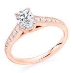 Platinum Oval Cut Diamond Engagement Ring 1.05ct