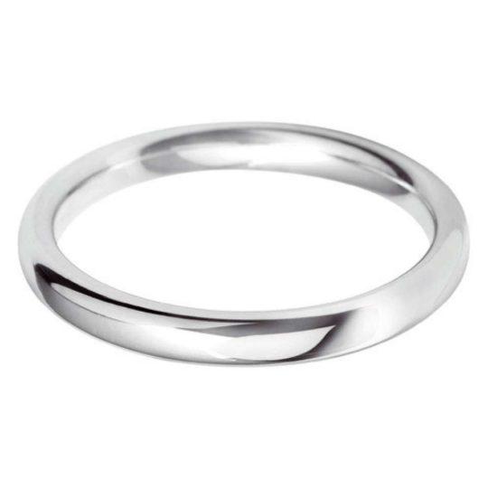 Ladies Platinum 2.5mm Court Wedding Ring